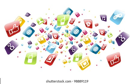 Application icons explotion on white background. Vector file layered for easy manipulation and customisation.