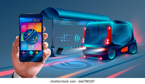 the application interface for mobile phone Smart bus. Businessman using smartphone, with maps and applications are where now rides the bus. Future concept. VECTOR
