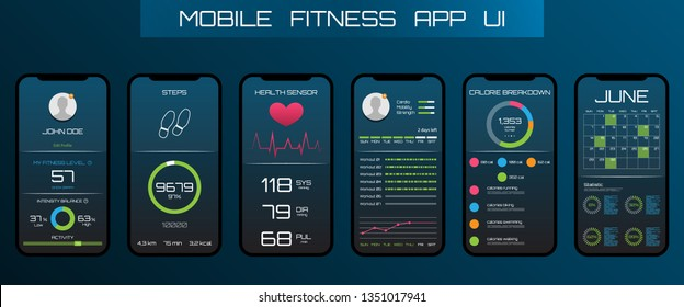 Application on the Mobile Phone to Track Steps, Pedometer. App for Fitness. Concept Interface Design of Apps - Illustration Vector