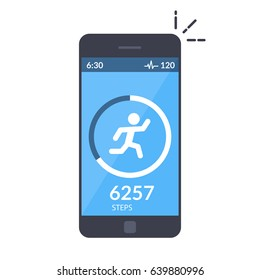 Application on the mobile phone to track the steps, the pedometer. App for morning jogging or fitness. The concept of the interface design of the apps. Isolated flat illustration.