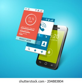 Application on smartphone screen. Different apps interfaces on display vector eps10 illustration