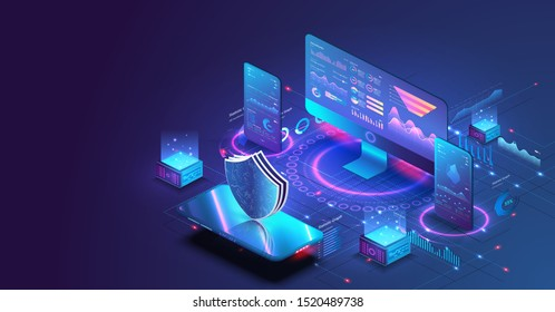 Application of pc and smartphone with business graph and analytics data. Isometric vector illustration of digital protection mechanism, system privacy. Data secure. Digital money market, investment