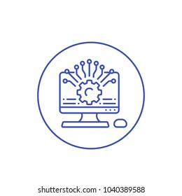 Application programming, api, app development and configuration vector line icon on white