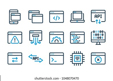 Application related line icons. Coding related icons. Vector illustration.
