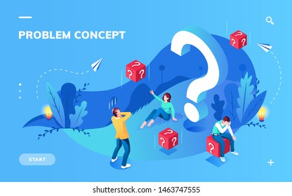 Application screen for problem solving or metaphor misunderstanding concept. Teamwork and finding difficult answer or solution, cube with question mark, lamp. Teamwork and brainstorm, solve theme