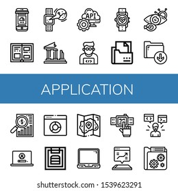 application simple icons set. Contains such icons as Online order, History, Smartwatch, Ruins, Api, Programmer, Curriculum, Eye scan, Download, can be used for web, mobile and logo