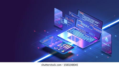 Aplicación de Smartphone con gráficos de negocio y datos analíticos en teléfonos móviles isométricos. Concepto de proceso de codificación de desarrollo de software y tendencias de análisis. Programación, prueba de código de plataforma cruzada