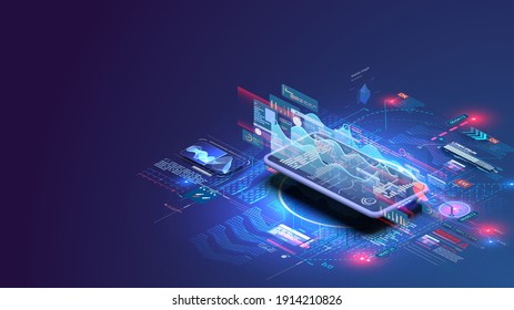 Application of smartphone with business graph and analytics data on isometric laptop . Analysis trends and financial strategy by using infographic chart. Online statistics and data Analytics.