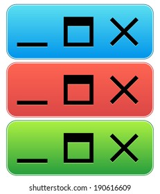Application , software window icon - minimize, maximize, close buttons of computer program