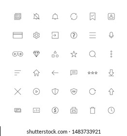 Application Store universal user interface outline icons. thin line UI icons set.