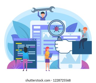 Application stress testing, bug removal, coding. Small people stand near big smartphone. Poster for social media, web page, banner, presentation. Flat design vector illustration
