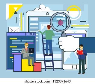 Application stress testing, bug removal, coding, smartphone virus clean. People stand near big smartphone. Poster for social media, web page, banner, presentation. Flat design vector illustration