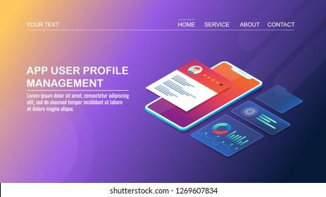 Application users, user profile management app, Smart phone profile app flat 3D isometric vector banner