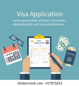 Application visa vector. Man at table fills out an application visa. Vector illustration of flat design style. Document for travel. Passport with tickets, money, calendar.