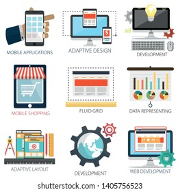 Application with Web Development, Data Presentation, Mobile Shopping, Adaptive Design and Mobile Application