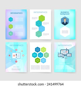 Applications and Infographic Concept. Flyer, Brochure Design Modern user interface (ux, ui) screen template for mobile smart phone or web site. Transparent blurred material design ui with icons.