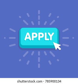 Apply button with cursor in flat design. vector illustration.