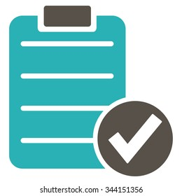 Apply Form vector icon. Style is bicolor flat symbol, grey and cyan colors, rounded angles, white background.
