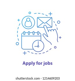Apply for job concept icon. Work searching idea thin line illustration. Employment. Job application letter. Vector isolated outline drawing