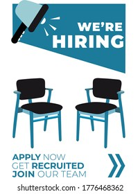Apply For Job Recruitment Vacancy Hiring Vector Chairs Poster Design
