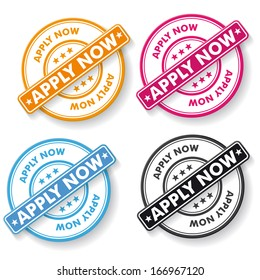 Apply now colorful paper labels. Eps 10 vector file.