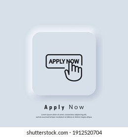 Apply now icon. Apply now button with hand cursor. Apply now logo. Vector. UI icon. Neumorphic UI UX white user interface web button.