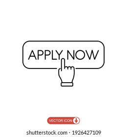 Apply now icon in line style. flat Finger cursor isolated on white isolated background. Click button for app and web design .vector illustration