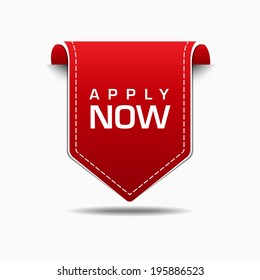 Apply Now Red Label Icon Vector Design
