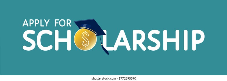 Apply for scholarship vector concept. Text with dollar coin, traditional graduate cap, mortarboard hat. For university, college, high school landing page, template, ui, web, mobile app, poster, banner