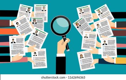 Applying for job, giving CV, job competition, vector concept