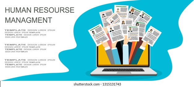 Applying for job, giving CV, job competition out from laptop vector concept