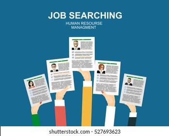 Applying for job, giving CV, job competition vector concept