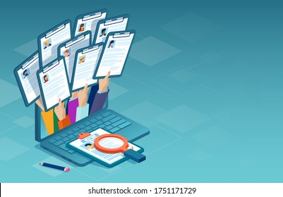 Applying for job online concept. Vector of multiple people applying for work position giving CV out from a laptop computer