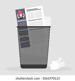Applying for a job. Rejected. Failure. Sexism at work. Experience and skills. CV in a trash bin. Curriculum vitae / flat editable vector illustration, clip art