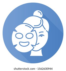 Applying sheet mask blue flat design long shadow glyph icon. Skin care procedure. Hydrogen mask. Facial beauty treatment. Face cotton product for moisturizing effect. Vector silhouette illustration