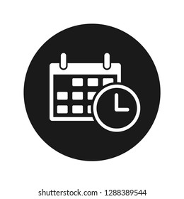 Appointment date calendar icon vector illustration design isolated on flat black round button