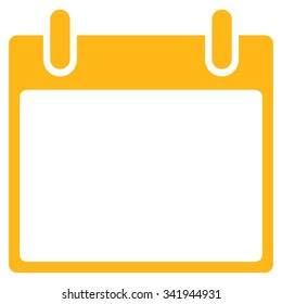 Appointment Leaf vector icon. Style is flat symbol, yellow color, rounded angles, white background.