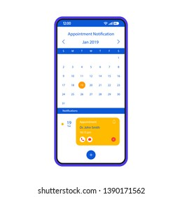 Appointment notification smartphone interface vector template. Mobile app page white design layout. Doctor visit reminder screen. Flat UI for application. Organizer, calendar, notifier. Phone display