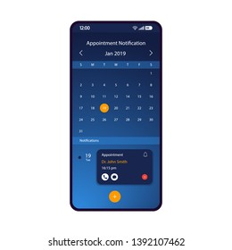 Appointment notification smartphone interface vector template. Mobile app page blue design layout. Doctor visit reminder screen. Flat UI for application. Organizer, calendar, notifier. Phone display