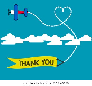 Appreciate and thanks giving concept. Vector illustration of plane bring a banner with thank you written on and leaving behind a love shaped smoke trail.