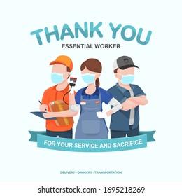 Apreciación por el transporte esencial de trabajadores, entregas, comestibles y conductores de coche por su servicio en medio de brotes de virus de la corona