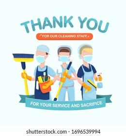 Apreciación por el personal de limpieza de hospitales, el personal de conserjería y los servicios de atención médica en servicio en medio de un brote de virus de la corona