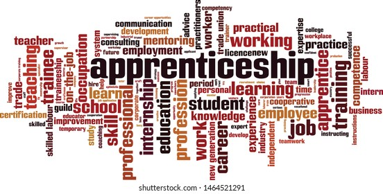 Apprenticeship word cloud concept. Collage made of words about apprenticeship. Vector illustration