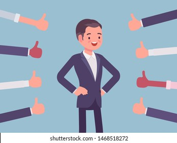 Approbation, commendation and praise, thumbs approving happy man. Hand gestures showing friendly respect and business recognition, well done or agreement symbol. Vector flat style cartoon illustration