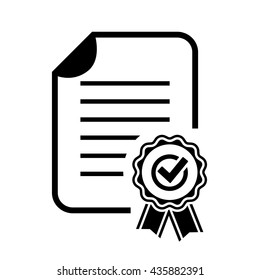 Approval certificate icon vector illustration isolated on white background