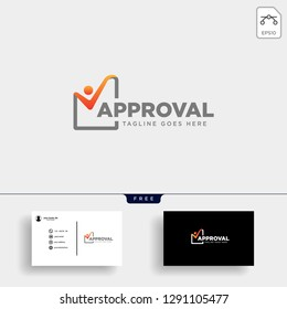 Approval Check, checking logo template vector illustration with business card