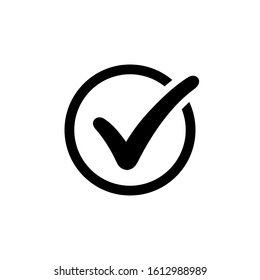 Approval check icon isolated, quality sign, black tick – stock vector