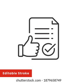 Approval icon, document accredited, authorized agreement, thin line symbol for web and mobile phone on white background - editable stroke vector illustration eps 10