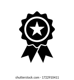 approval icon. star medal icon symbol vector on white background. editable