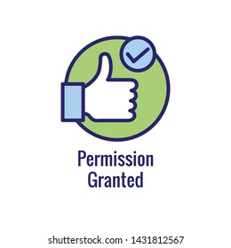Approval and Signature Icon with approved imagery - to show someone's given the go ahead